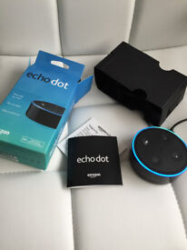Amazon Echo Dot, boxed with all cables and packaging, little use