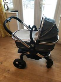 Icandy Peach 3 travel system in truffle includes carry cot, jogger, car seat and Isofix base.