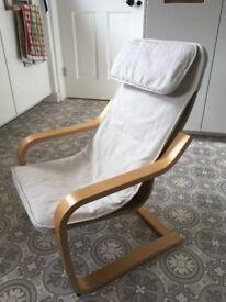 Children's Poang Chair (cream cushions with birch veneer)