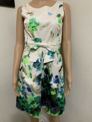 Kate Spade Floral Print, Front BowTie A-Line Sleeveless Dress, Size 2 (XS)