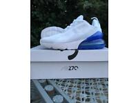 Nike Air Max 270 Ltd. White/ Electric Blue Size UK 6 BNIB