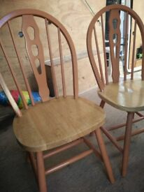 2 x spindle back dining chairs