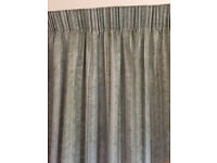 1 pair of sage green patio door curtains & 1 pair of sage green curtains