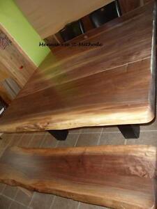 Table en bois, comptoir en bois, table en tranche d'arbre à vendre, banc de table et autre