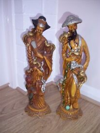 """PAIR OF MAN & WOMAN RESIN? JAPANESE FIGURINES/ORNAMENTS 15"""" 38CM TALL"""