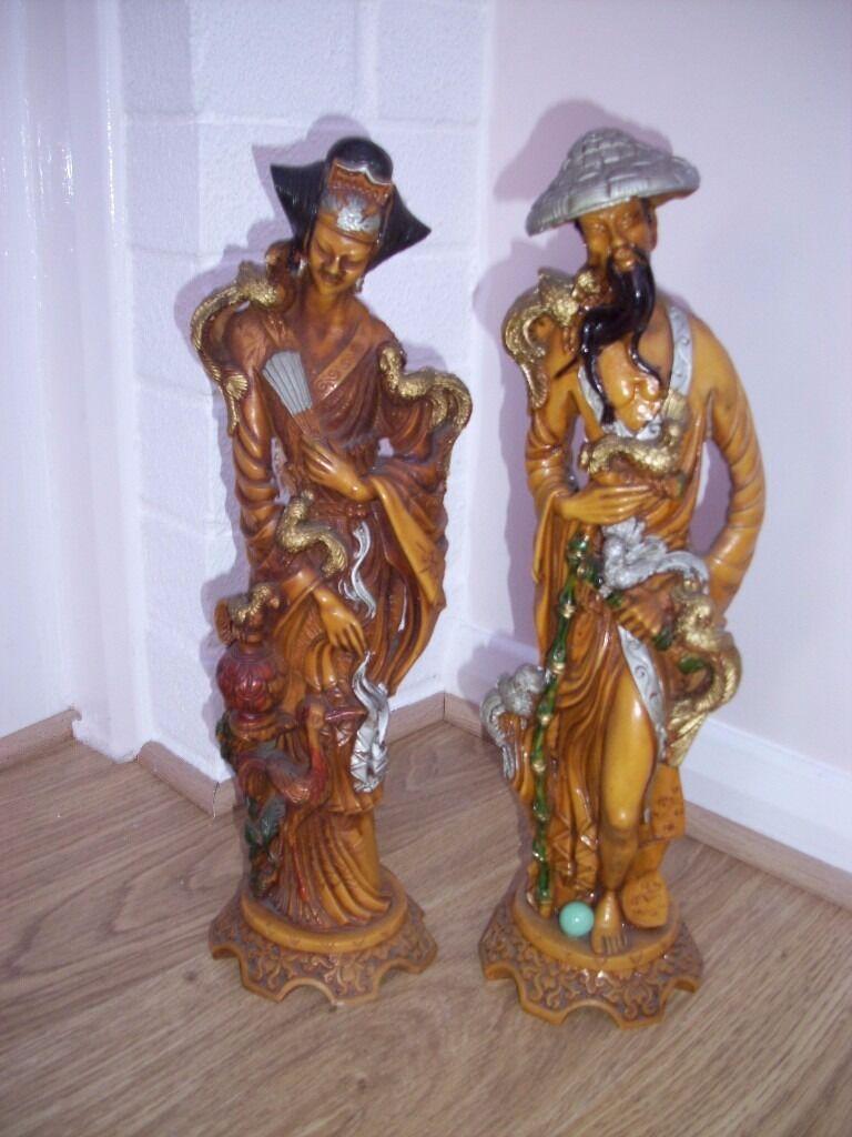 Pair Of Man Woman Resin Japanese Figurines Ornaments 15