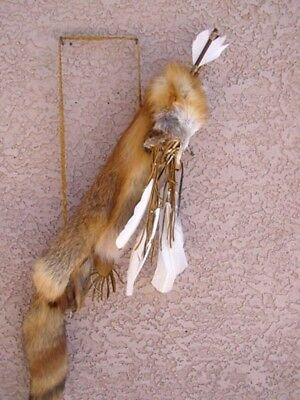 - Native American Navajo Full Size Red Fox Fur Buckskin Leather Quiver with Arrows
