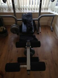 York Fitness Bench with bar bell dumbells and free weights