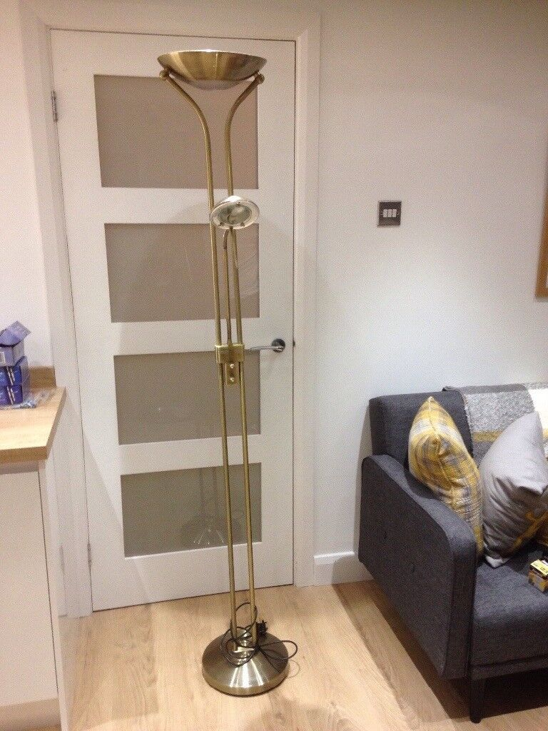 Antique gold floor lamp with reading lamp attached