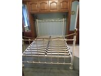 Ivory & Brass Coloured King Size Bed Frame