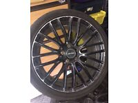 "Inovit 18"" Sonic Black Alloy Wheels Fits Audi A3 A4 A6 TT BMW 1 Series 3 Series 5 Series VW Passat"