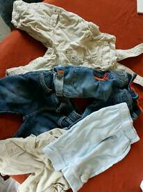 Baby Boys trousers and dungarees. 0-3 Months
