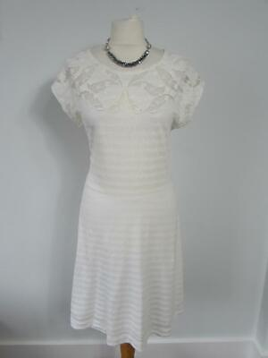 FRENCH CONNECTION Ladies White Striped Jersey Summer Sun Dress Lace Trim Size 14 Lace Trim Jersey Dress