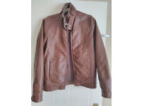 Leather Jacket Barneys Brown Small ONLY £15