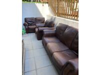 Brown leather sofa three piece suite FREE