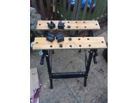 Folding wooden work bench