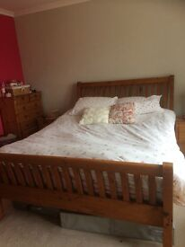 Large reclaimed wood double bed frame
