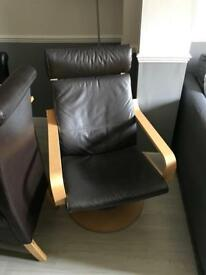 Ikea Poang Leather swivel chair & footstool - Reduced!!