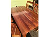 Solid wood dining table and 4 chairs
