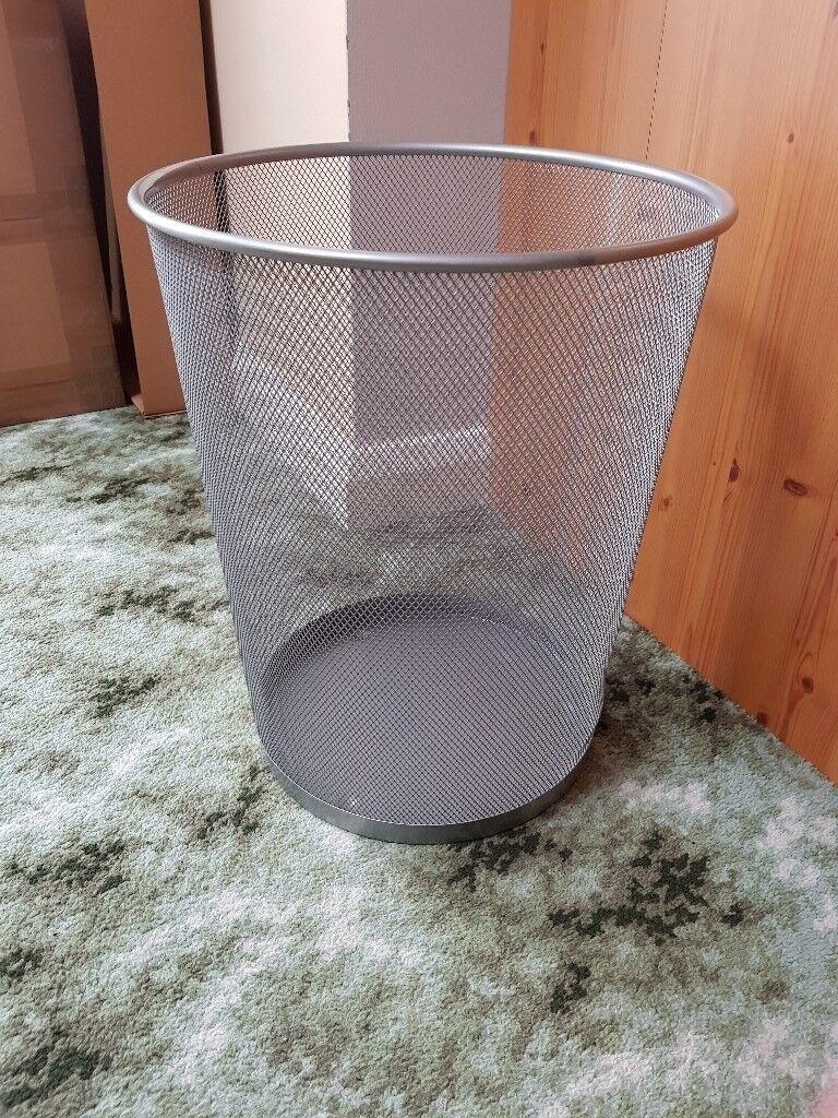 Silver Mesh Waste Paper Bin