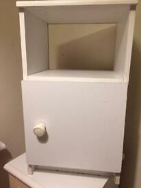 White bedside table