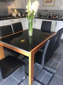 Extendable Dining Table & 6 Leather Chairs