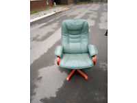 Reclining leather chair and stool