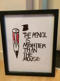 """Black Frame Art Print The Pencil Is Mightier Than The Mouse John Lewis 10"""" X 13"""""""