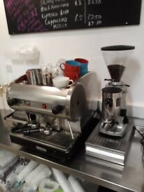 Barista coffee machine, coffee bean grinder, knockbox