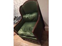 Antique green satin chair