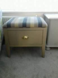 Stool drawer draw fabric top seat