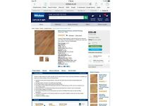 WICKES ROCKLAND HICKORY LAMINATE FLOORING AND UNDERLAY. 40% DISCOUNT!!!!!!!!