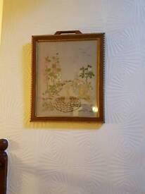 Vintage 1960s framed tapestry
