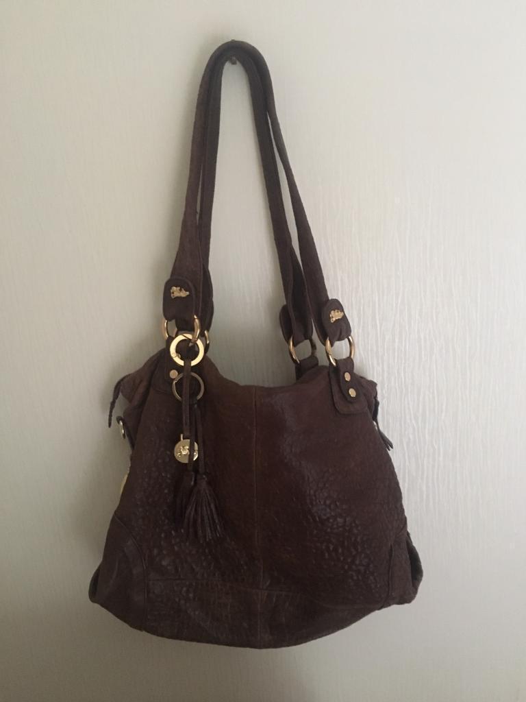 Jenrigo Brown Pebbled Leather Handbag
