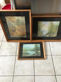 3 framed 1960s Landscape watercolours...J W Cork 1966