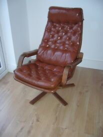 VINTAGE SCANDINAVIAN LEATHER SWIVEL ARM CHAIR GUSTAF AXEL BERG FOR BROEDER SWEDISH DANISH