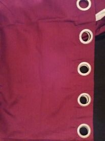 Red faux silk eyelet curtains 90x90 inch