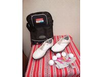 "AQL Ladies Golf Shoes Size 4 with bag, glove, balls and ""t""s"