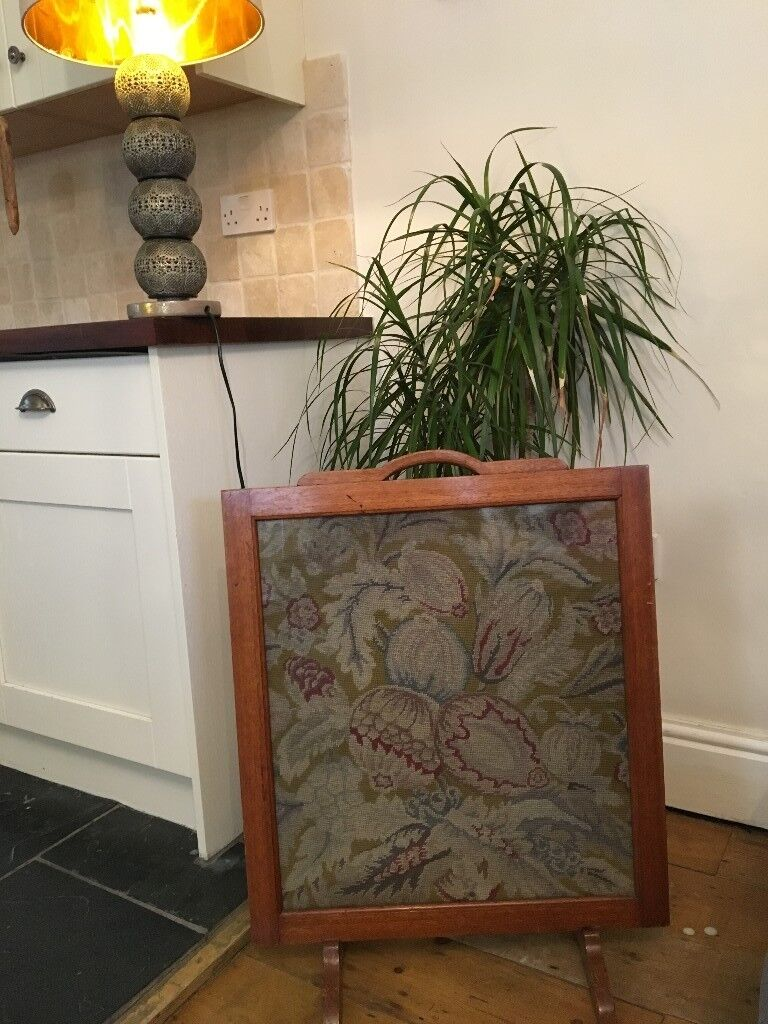 Vintage Fire Guard Oak and Embroidered Center piece