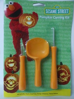 HALLOWEEN PUMPKIN CARVING KIT SESAME STREET CARVING TOOLS 6 PATTERNS NEW - New Halloween Pumpkin Carving Patterns