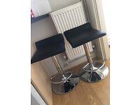 Black/silver bar stools x2