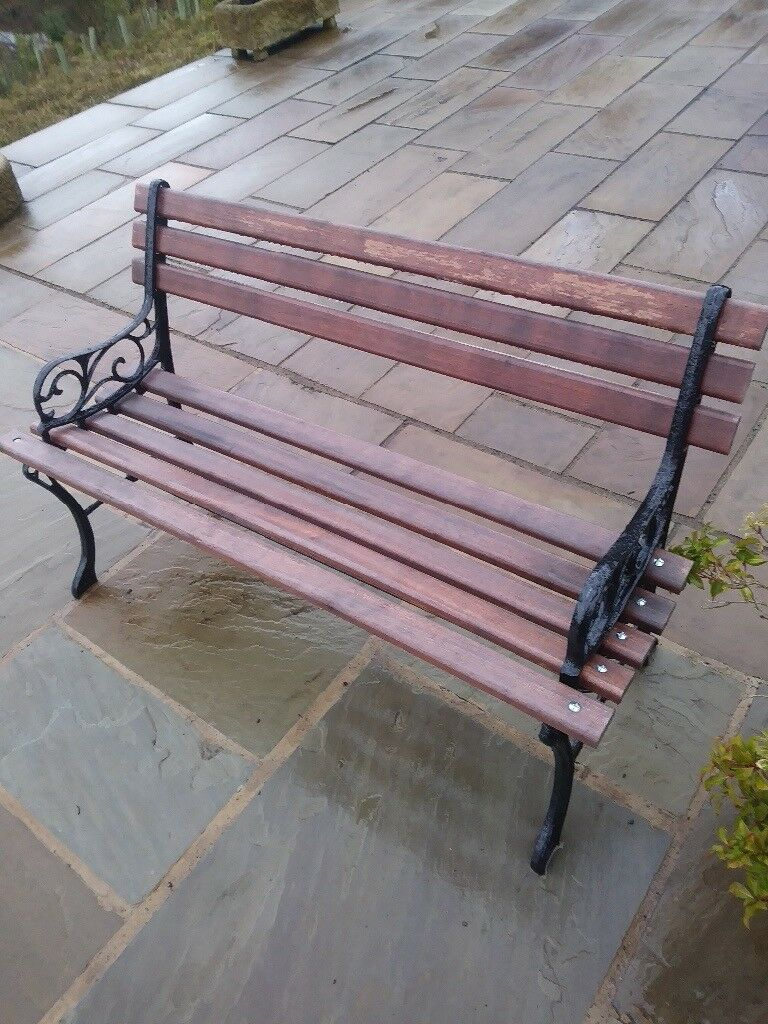 Garden Bench With New Wood Slats In Holmfirth West