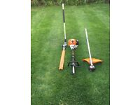STIHL KM130R PROFESSIONAL KOMBI WITH HEDGE TRIMMER AND STRIMMER ATTACHMENTS IN MINT CONDITION