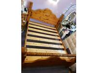 Solid pine bed king size