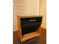 Ex Display - 1 Drawer Hollywood Bedside Cabinet WALNUT VENEER/BLACK GLOSS (was £75)