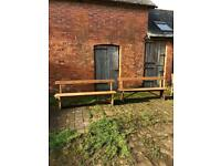 Two chapel benches for sale.
