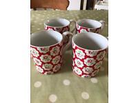 Four Cath Kidston Provence Rose Mugs