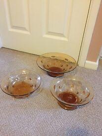 Thomas Webb Amber Bullseye Glass Bowls x 3