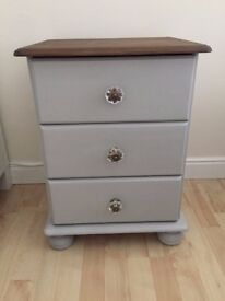 Fully Refurbished Shabby Chic Solid Wood Bedside Cabinets in Grey Chalk Paint with Oak Stained Top