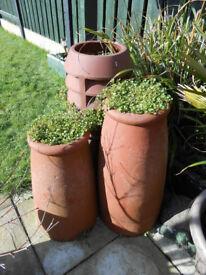 3 old chimney pots